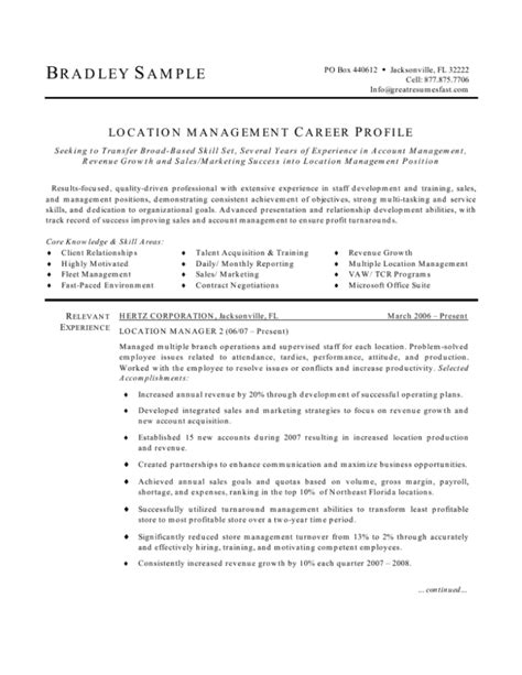 Fast Food Manager Resume by Fast Food Manager Resume Sle Resume Exles 2017