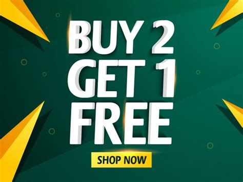 Get The 4 1 1 For Free by Buy Two And Get One Free Sale Banner Vector Premium