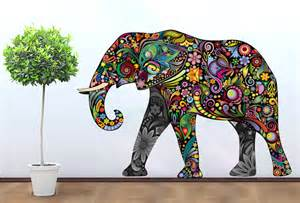 Colorful Wall Stickers colorful elephant floral sticker wall print art