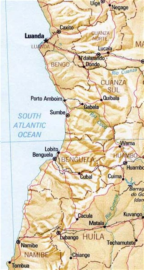 angola maps including outline  topographical maps
