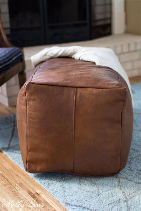 how to make pouf ottoman leather pouf ottoman melly sews