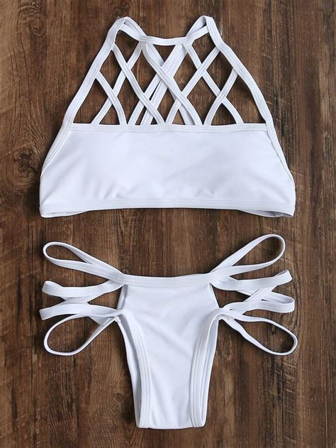 Set Overal Back To Cross shop white cutout cross back set shein offers white cutout cross back set