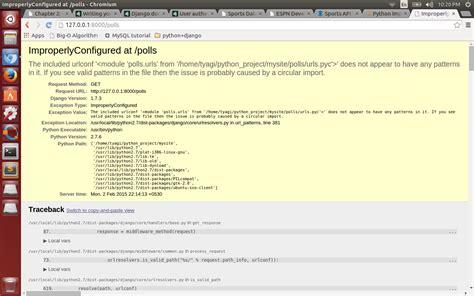 django questionnaire tutorial django python improperly configured url stack overflow