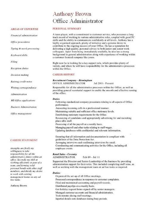 resume templates for administrative office administrator resume exles cv sles