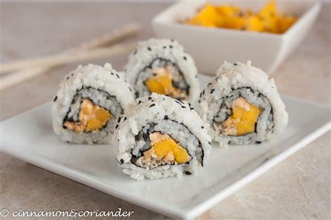 vegan sriracha mayo vegan sushi roll with mango panko sesame sriracha mayo