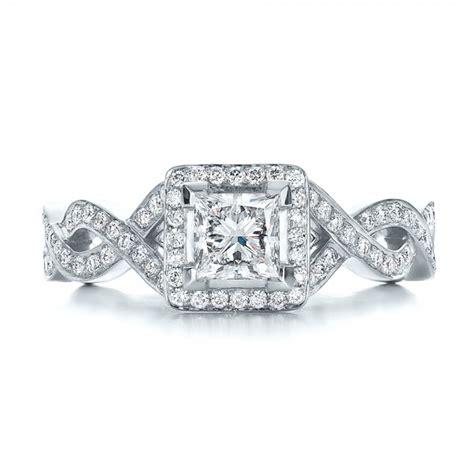 custom princess cut halo engagement ring 100604