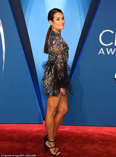 cma models cma models lea michele models flirty sheer mini dress at