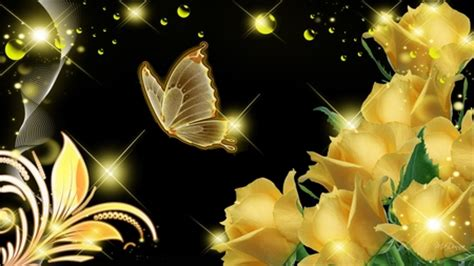 wallpaper gold butterfly gold butterfly wallpaper roses glow flowers nature