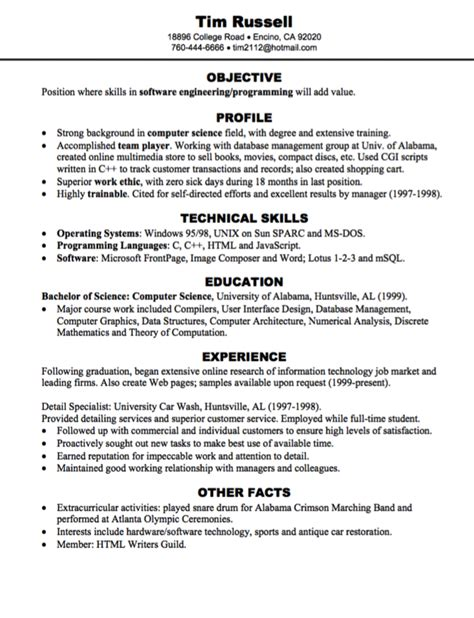 sle resume extracurricular activities software engineering programming resume sle http
