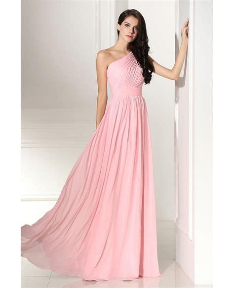 simple elegant pleated  shoulder pink formal dress