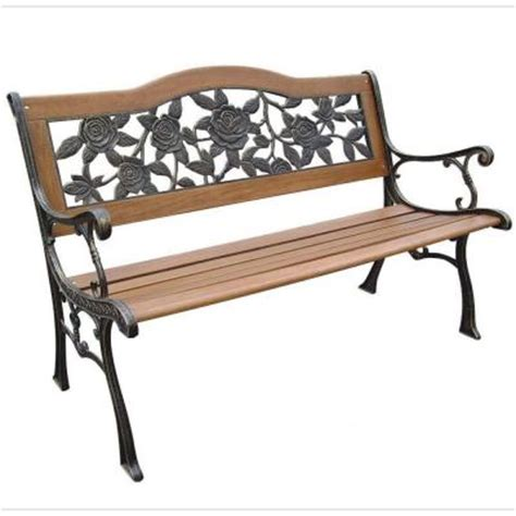 home depot garden bench parkland heritage rose resin back patio park bench