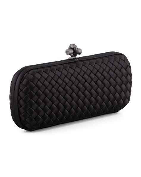 Bottega Veneta Intrec Capretto Knot Clutch In Black by Bottega Veneta Knot Clutch Bag In Black Save 3 Lyst