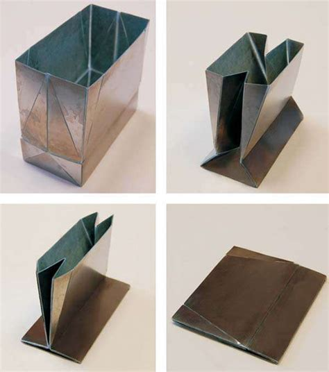 Folded Paper Bag - metal origami bags zhong you and weina wu