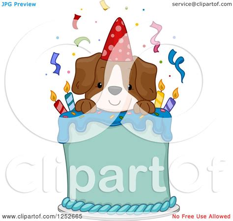 clipart of a happy puppy dog on a birthday cake royalty