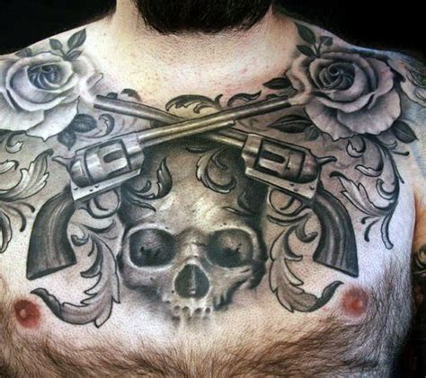 skull chest tattoos for men mens chest black and grey of revolvers skull and