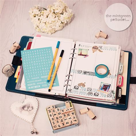 Decorating Filofax by Planner Eye Airmail Theme The Mintgreen Polkadot