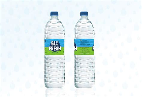 design water label blu fresh packaged mineral water logo label design on