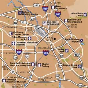 Map Of San Jose Area by Norman Y Mineta San Jose International Airport Airport