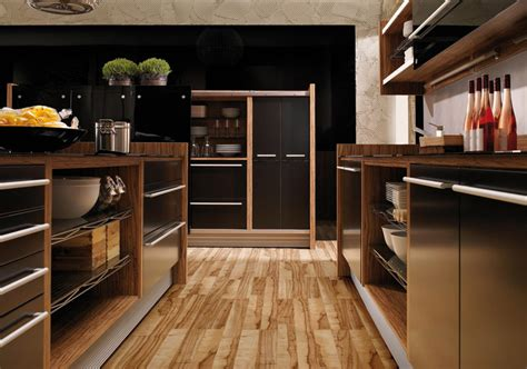 woodwork kitchen designs glossy lacquer with natural wood kitchen design vitrea