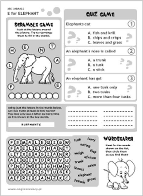 English abc animals for kids   Elephant printables