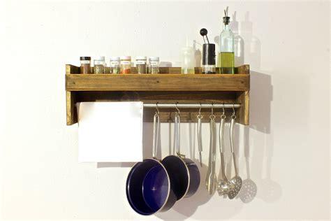 Pot Rack With Shelf by Pot Rack Wood Spice Rack Wood Kitchen Shelf By Arrayanddisplay