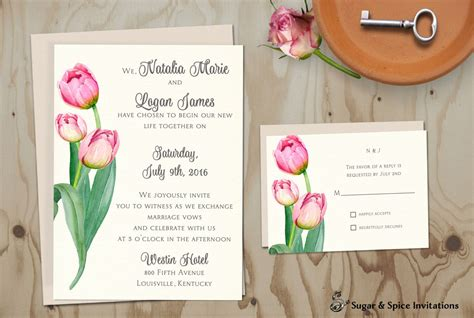 tulip wedding invitations watercolor tulip wedding invitation printable wedding