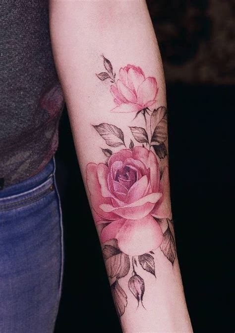 pink rose tattoos watercolor pink tattoos