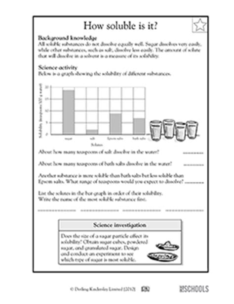 5th grade science worksheets: how soluble is it
