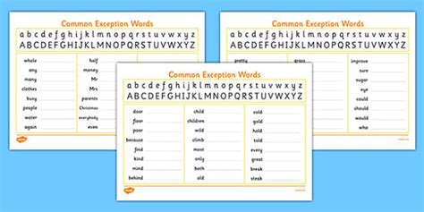 handwriting with year 2 common exception words practice