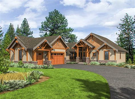 mountain craftsman house plans mountain craftsman with one level living 23705jd