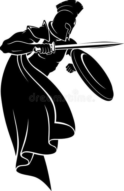 spartan warrior silhouette stock illustration