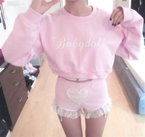 Kawai 15 Wos Blue Pink sweater light pink clothes pink baby shorts