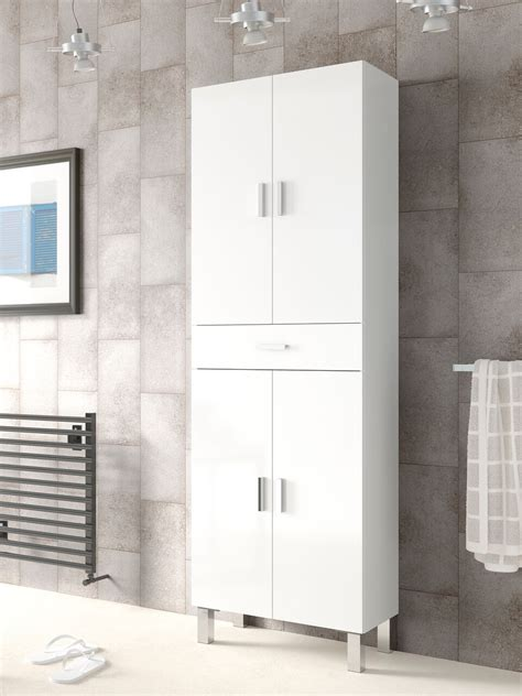 White Gloss Bathroom Storage by Valdo 4 Door White Gloss Bathroom Storage Cupboard