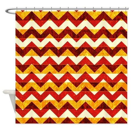 orange chevron curtains orange and red chevron pattern shower curtain by poptopia1