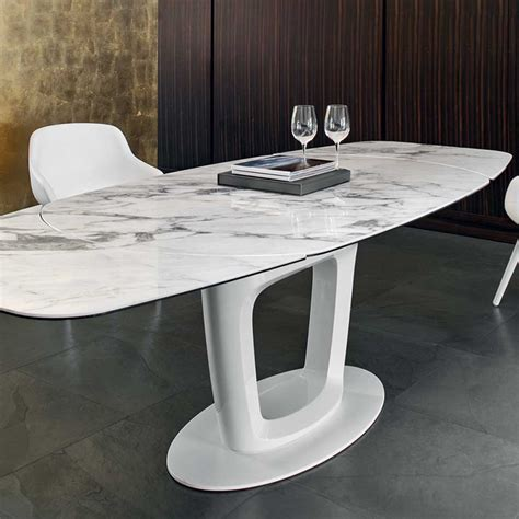 White Marble Top Dining Table Calligaris Orbital Dining Table Ceramic White Marble Top