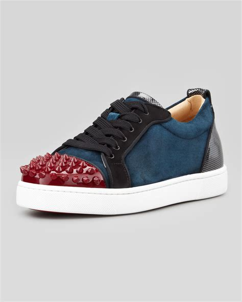 Christian Sneaker christian louboutin louis junior spikes low top sneaker in blue for lyst