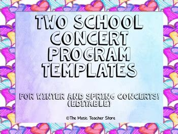 Two School Concert Program Templates For Winter And Spring Concerts Editable Winter Program Template