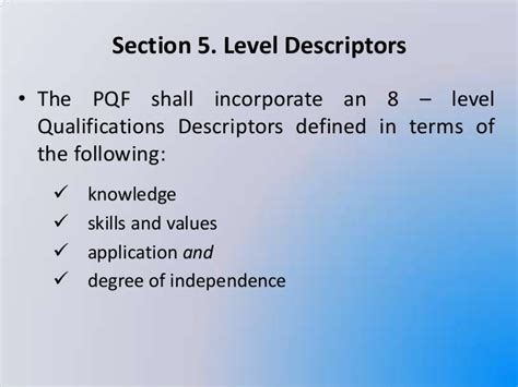 what are the qualifications for section 8 tesda philippine qualifications framework pqf