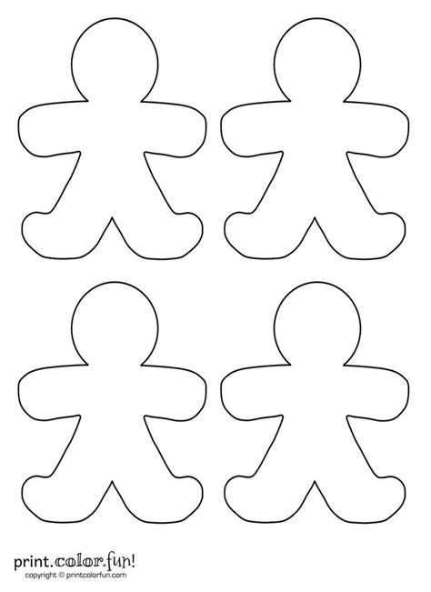 gingerbread man puzzle printable four blank gingerbread men print color fun free