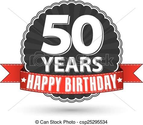 fifty years of illustration 1780672799 vectors of happy birthday 50 years retro label with red ribbon vector csp25295534 search