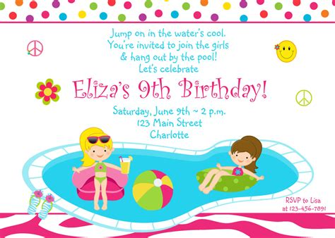 printable birthday invitations pool party pool party birthday invitation girls pool party zebra