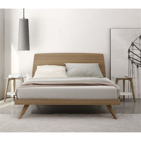 modern king bed frame bedroom modern mid century natural color walnut king size