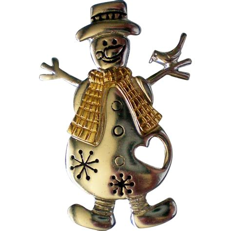Snowman Silver silver and gold tone snowman pin with cut out