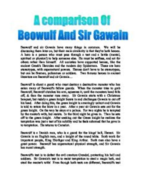 King Arthur Essay by Compare And Contrast Beowulf And Sir Gawain Essay
