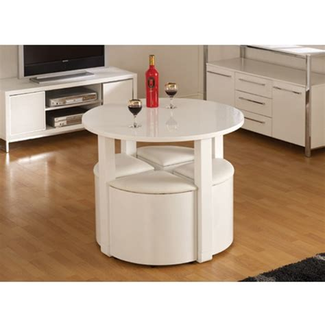 Stowaway Dining Table And Chairs Stefan Stowaway White Gloss Dining Table And 4 White