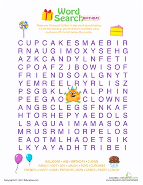Search Birthday Word Search Birthday Worksheet Education