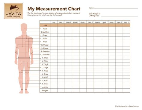 measure template free javita measurement chart javita coffee fitness