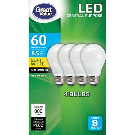 led light bulbs walmart great value led light bulbs 8 5w 60w equivalent