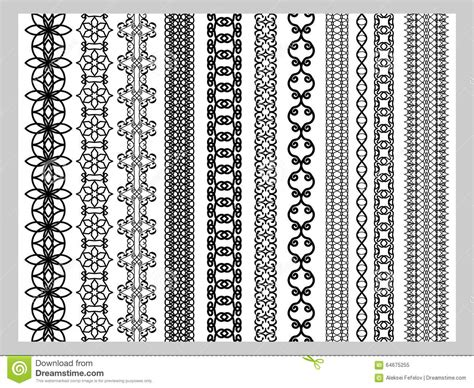 indian henna border decoration elements patterns stock