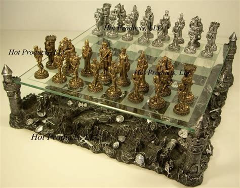 metal chess set pewter metal medieval times crusades knight chess set w